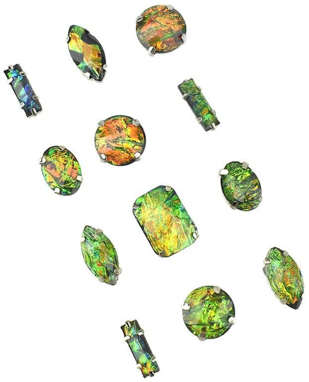 Homeford Ammolite Gem Stone Stickers, Assorted Sizes, 12-Piece