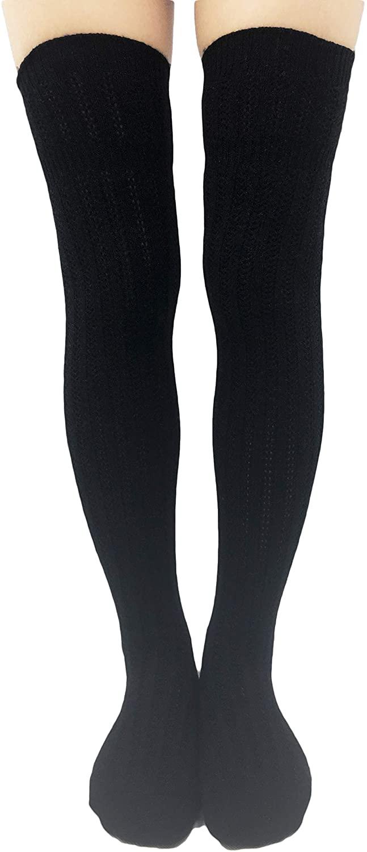 Womens Retro Winter Warm Knitted Thigh High Over Knee Long Boot Socks Leg Warmer