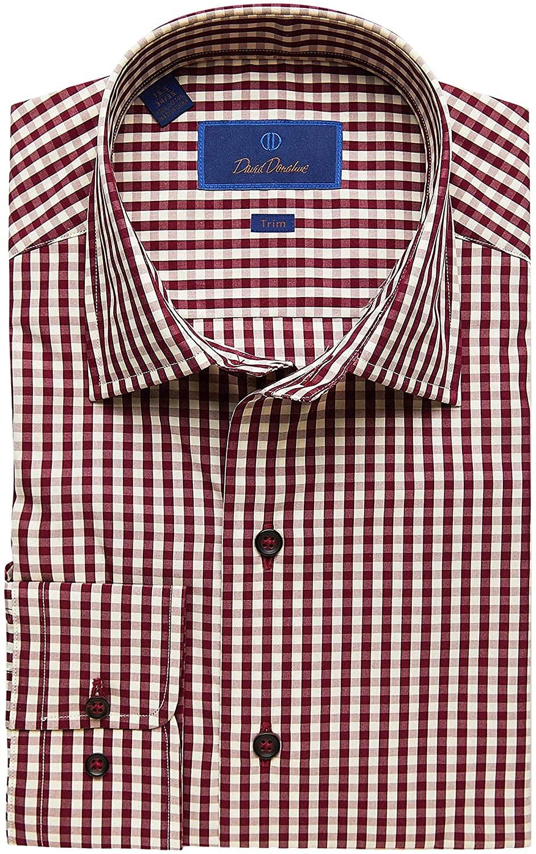 David Donahue Trim Fit Long Sleeve Melange Fusion Dress Shirt Merlot 15 x 32-33