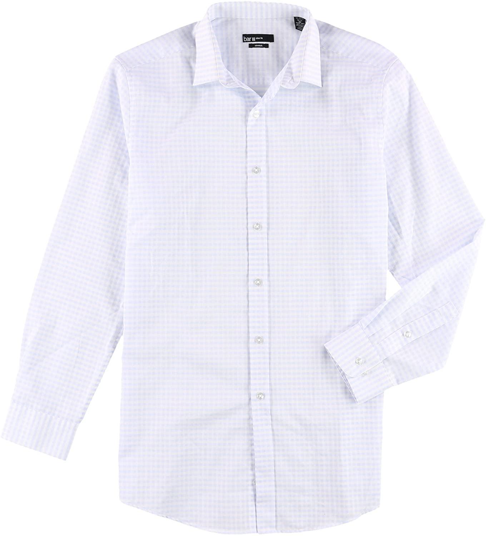 Bar III Mens Slim Check Button Up Dress Shirt