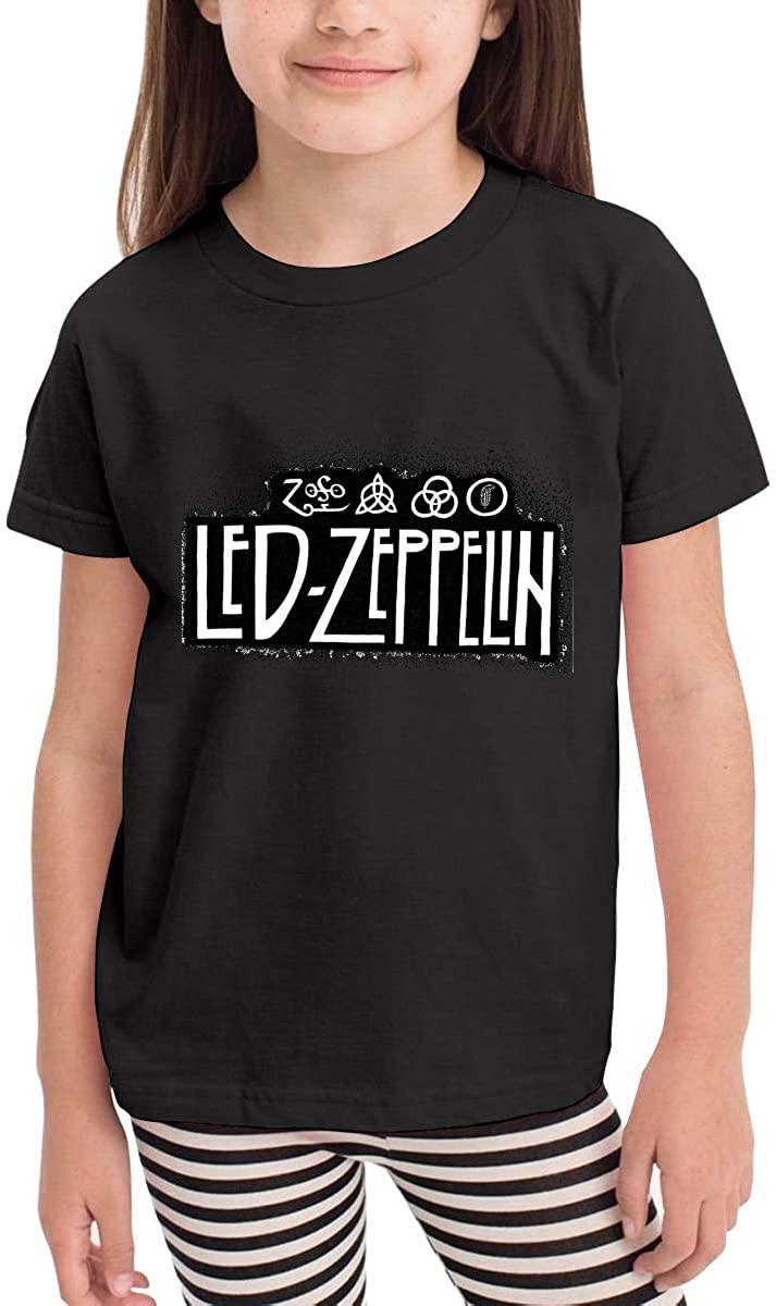 AP.Room Toddler/Infant Crewneck Short Sleeve Shirt Led Zeppelin T-Shirt for 2-6 Toddlers Black