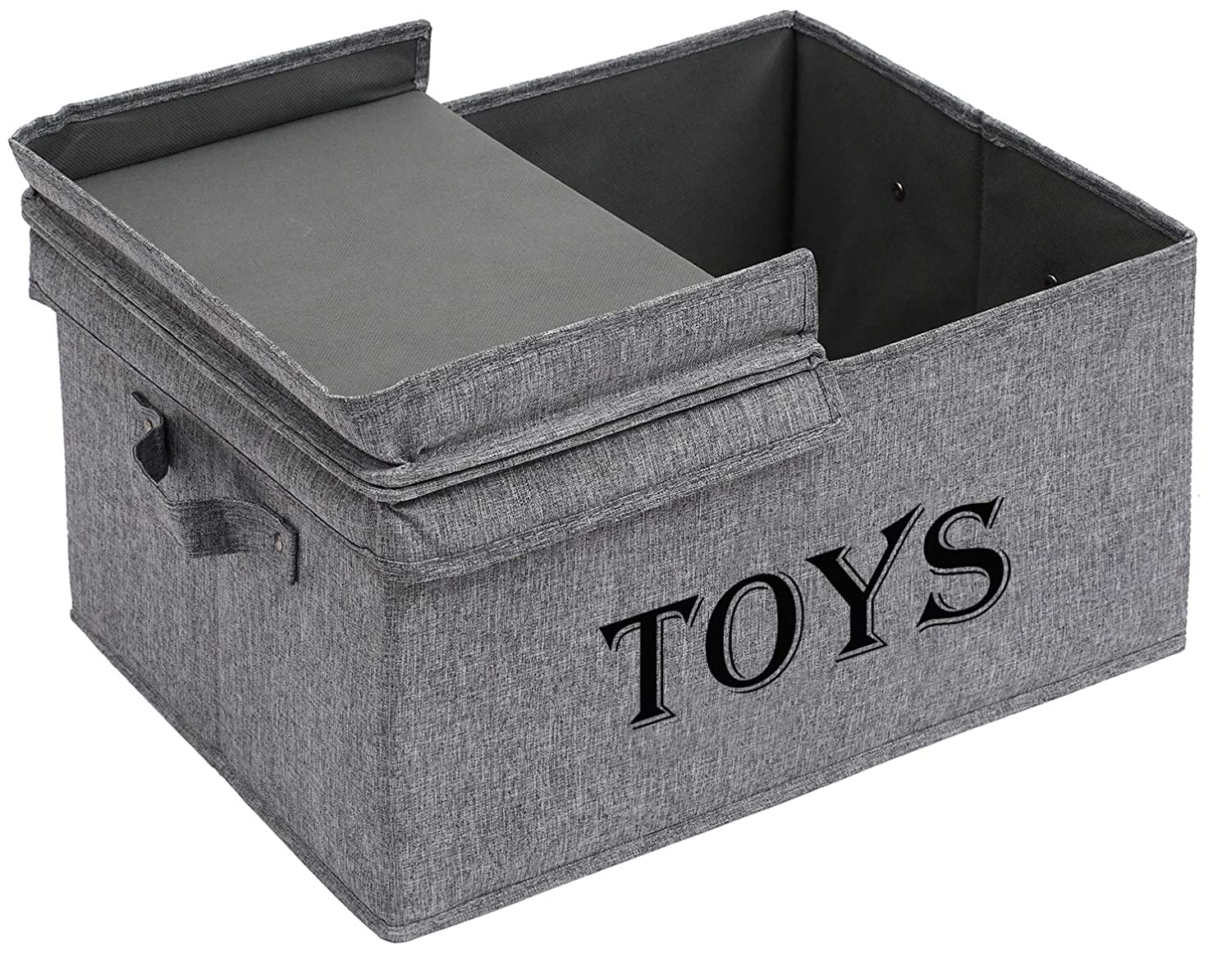 Xbopetda Toy Storage Organizer Chest for Kids & Living Room, Nursery, Playroom, Closet etc. –Large Collapsible Toys Bin with lid for Children & Dog Toys, Great Box for Boys and Girls-Snow Gray