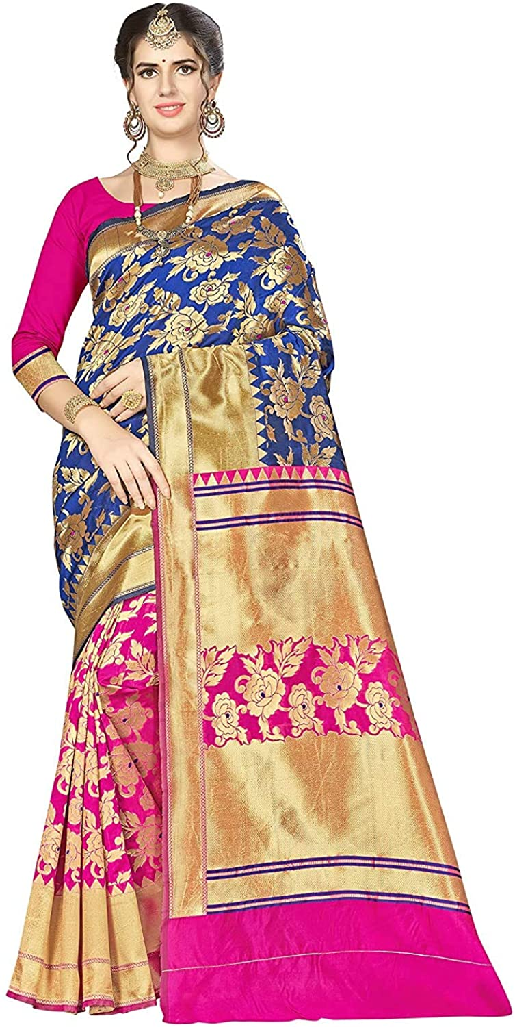 Women's Banarasi Silk Weaving Work Traditional Saree with Unstitched Blouse Blue and Pink