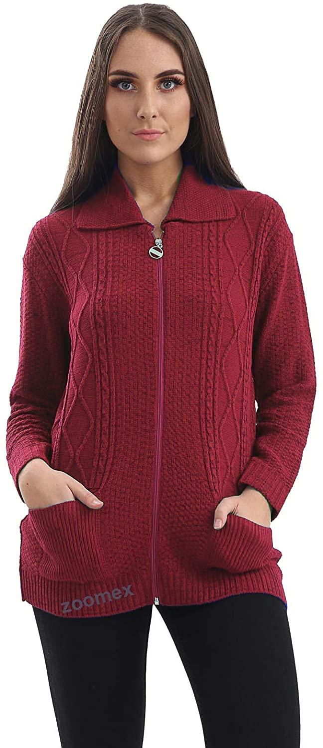 Cardigan Womens Cable Ladies Kintted Grandad Boyfriend Zipper Top Sweater