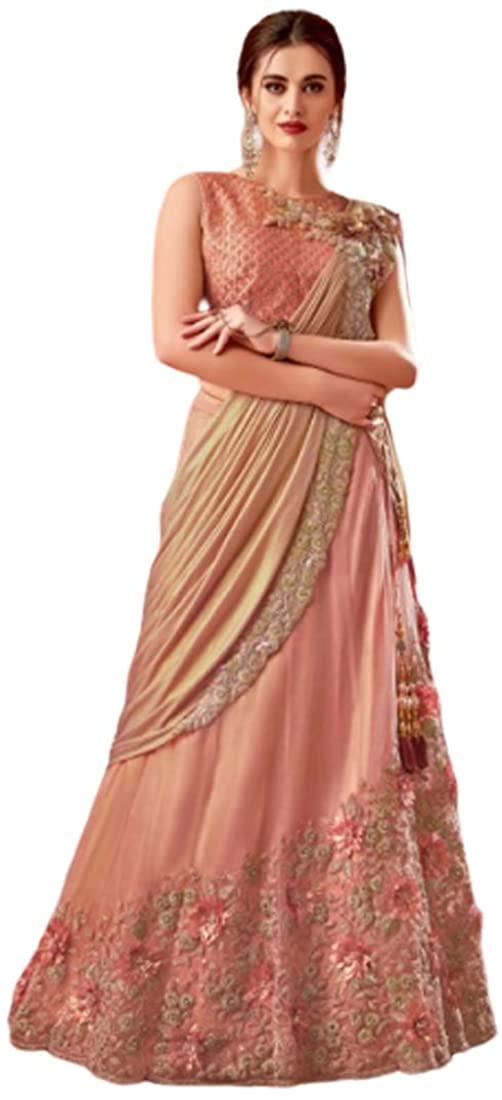 Indian Gajri Shimmer Georgette Floral Apllique Lehenga Choli Skirt Ready to Wear Lehenga Saree Sari Women Festival 9833