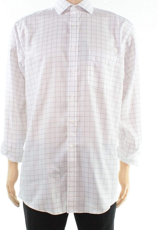 Tasso Elba Mens Dress Shirt Twill Grid Pattern Button Down White 16