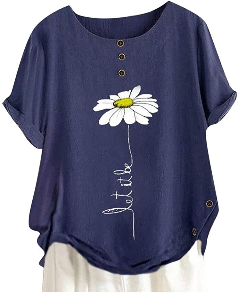 FEISI22 Women's Short Sleeve Cotton Linen Jacquard Blouses Top T-Shirt Linen Tops Shirts Summer Casual Jacquard Blouse