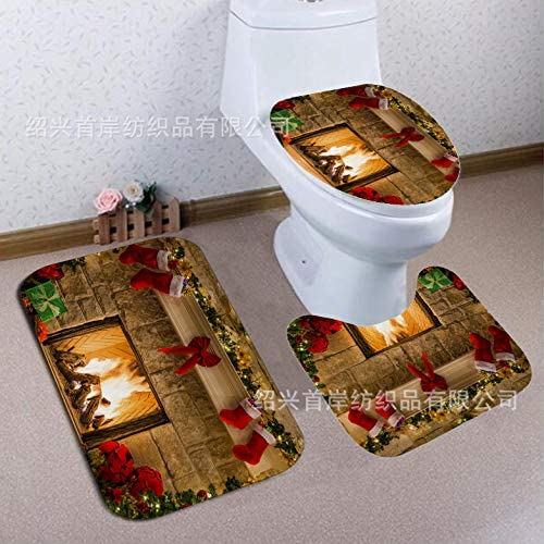 White pebble print Christmas carpet ground mat doormat kitchen non-slip water cushion bathroom cushion toilet three-piece set 40X60CM SDD15 3Pcs