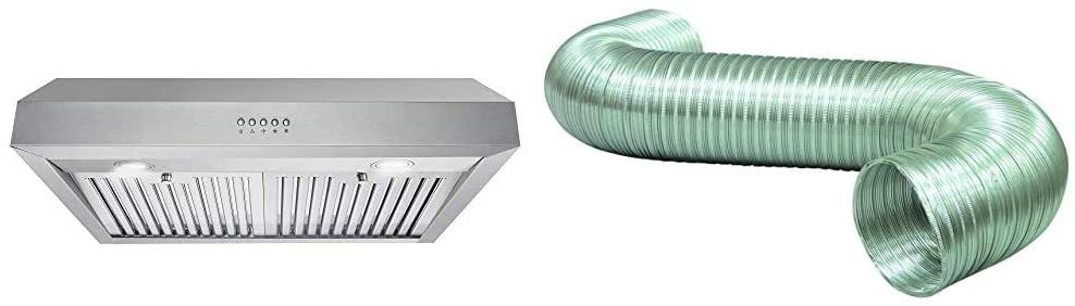 """Cosmo UC30 30 in. Under Cabinet Range Hood Ductless Convertible Duct, Kitchen Over Stove Vent & Deflecto Semi Rigid Aluminum Duct, Non-Crimped, Silver, 6"""" x 8' (A068/4-A)"""