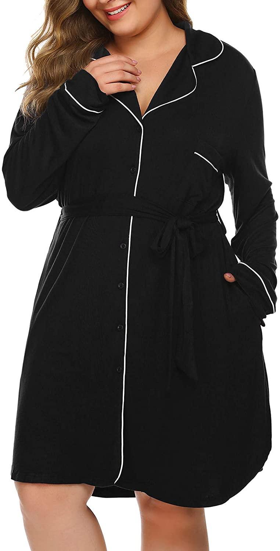 IN'VOLAND Womens Plus Size Nightgowns Sleep Shirt Long Sleeve Button Down Sleepwear Dress Lapel Belt Nightshirt