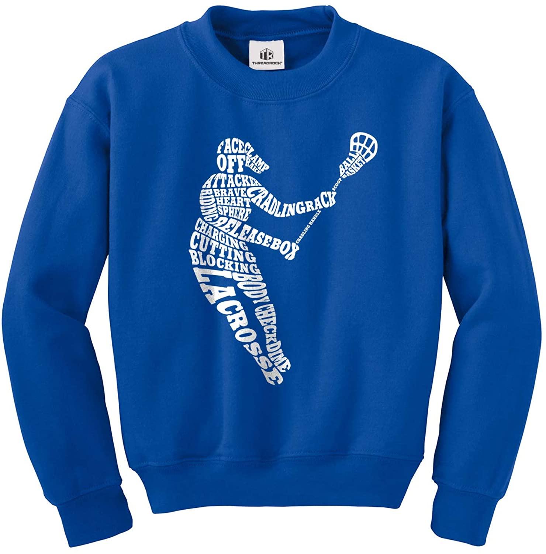Threadrock Big Girls' Lacrosse Player Typography Youth Sweatshirt