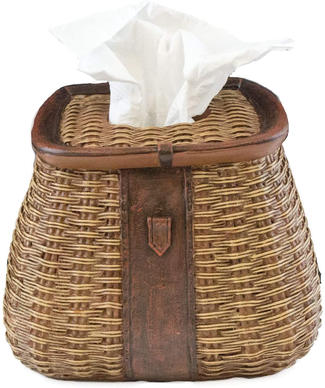Beachcombers Fishing Basket Tissue Box Resin, Brown