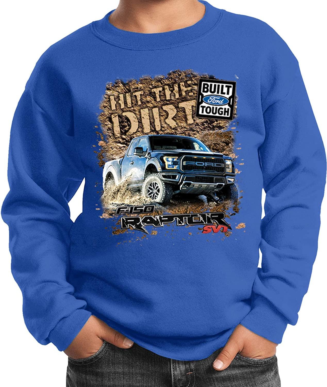 Ford F-150 Hit The Dirt Youth Kids Sweatshirt, Royal Medium