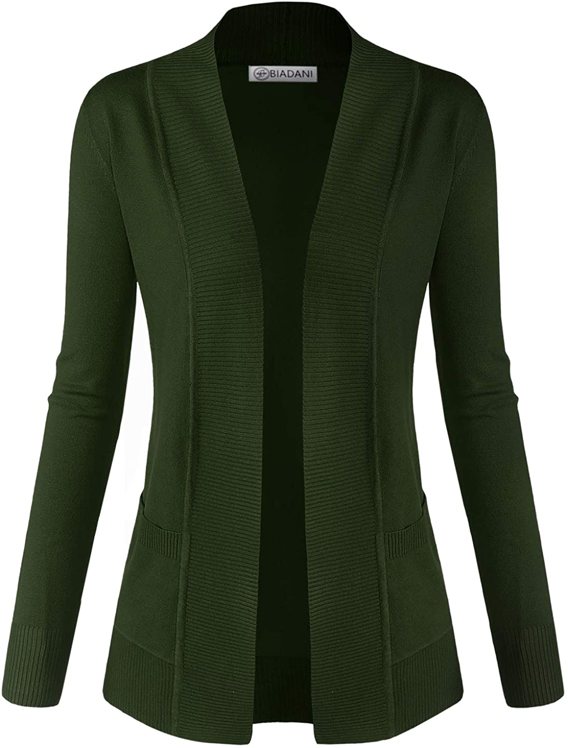 BIADANI Women Classic Soft Long Sleeve Open Front Cardigan Sweater Olive Medium