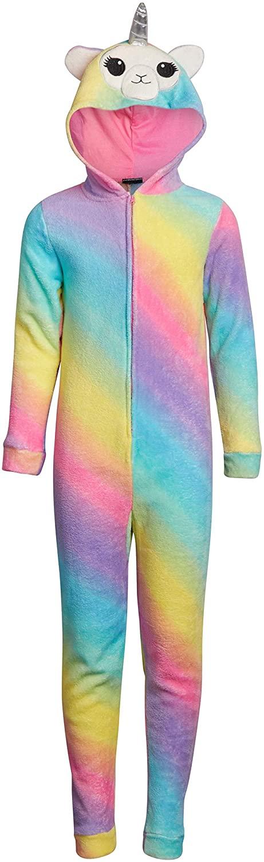 dELiAs Girls' Coral Fleece Unicorn Onesie Pajamas with Unicorn Critter Hood