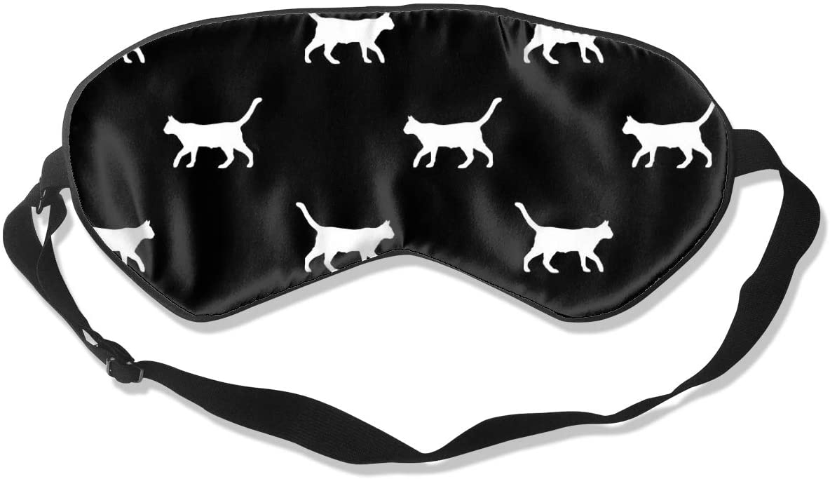 Black Cat Silhouette Eye Mask Sleeping Mask 100% Double-Sided Silk Eyeshade Eye Cover