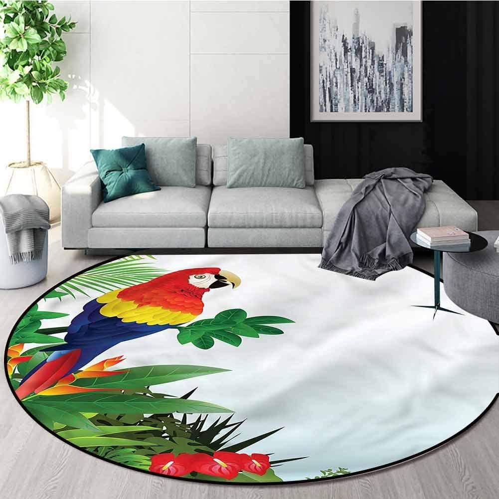 Parrots Round Kids Rugs,Macaw Bird in The Forest Non-Slip Soft Floor Mat Home Decor Round-55