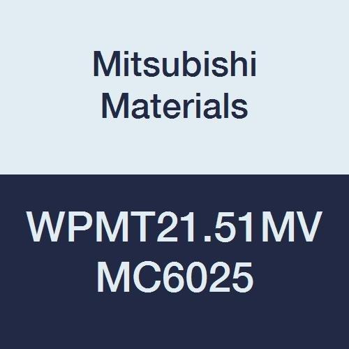 Mitsubishi Materials WPMT21.51MV MC6025 Carbide WP Type Positive Turning Insert with Hole, Coated, Trigon, Grade MC6025, 0.25