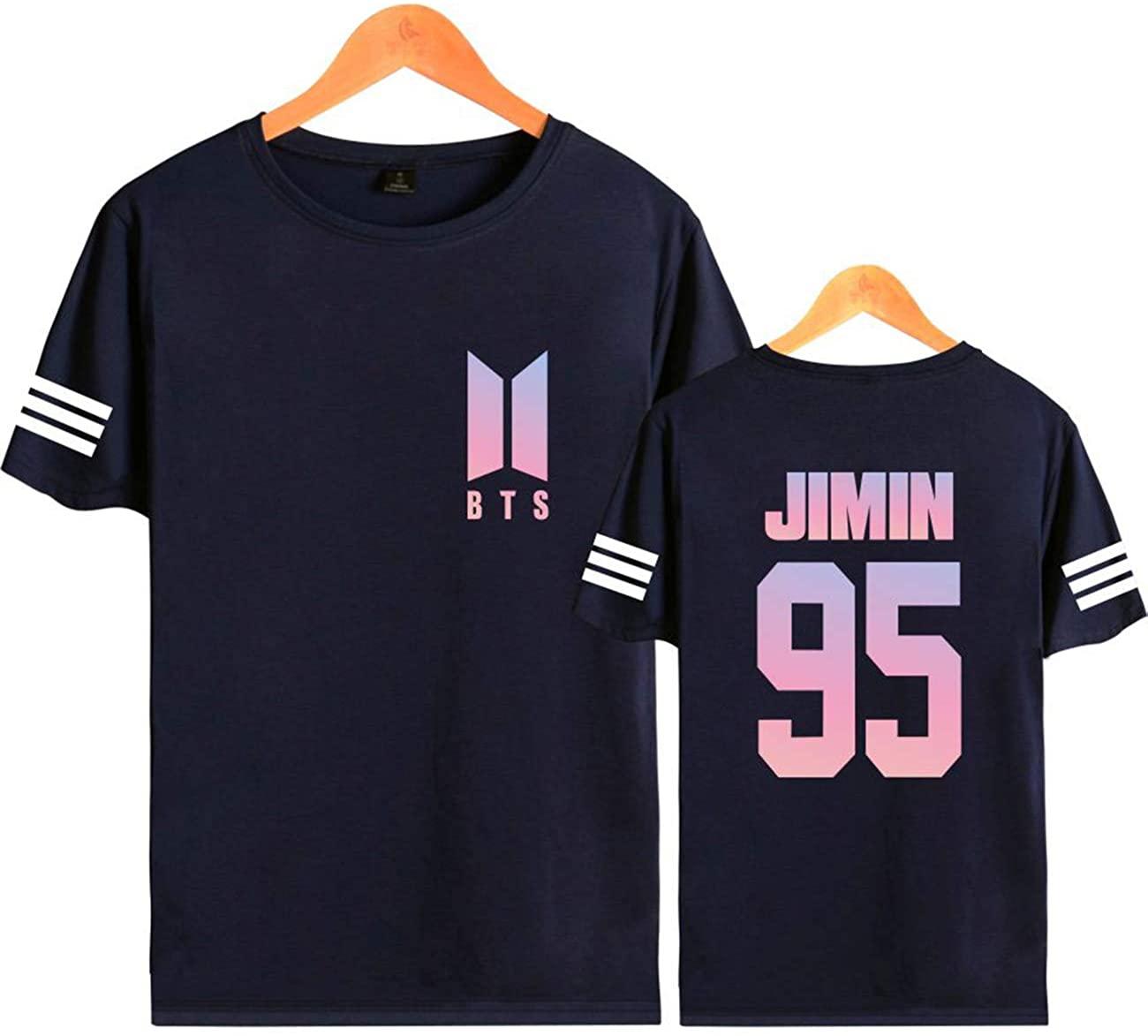 ZIGJOY Kpop Korean Boys Group Short-Sleeved Shirt Sweater Suga V Jin Jimin Jung Kook for Fans