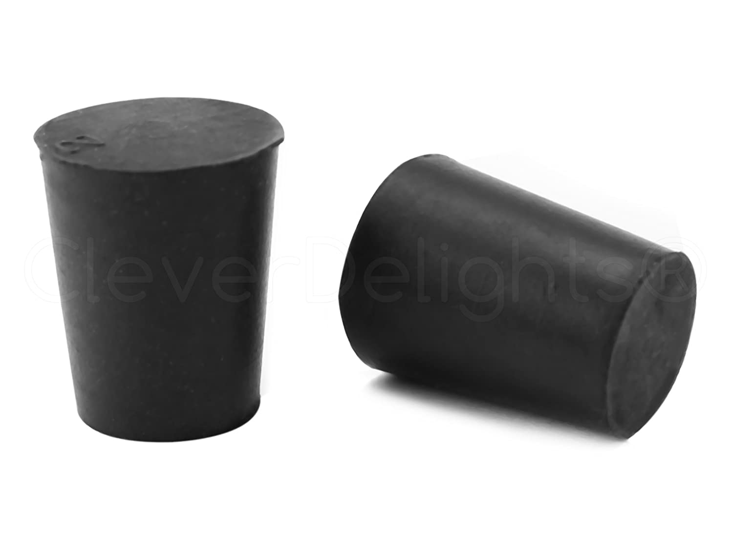 25 Pack - CleverDelights Solid Rubber Stoppers | Size 2 | 20mm x 15mm - 26mm Long - Black Lab Plug #2