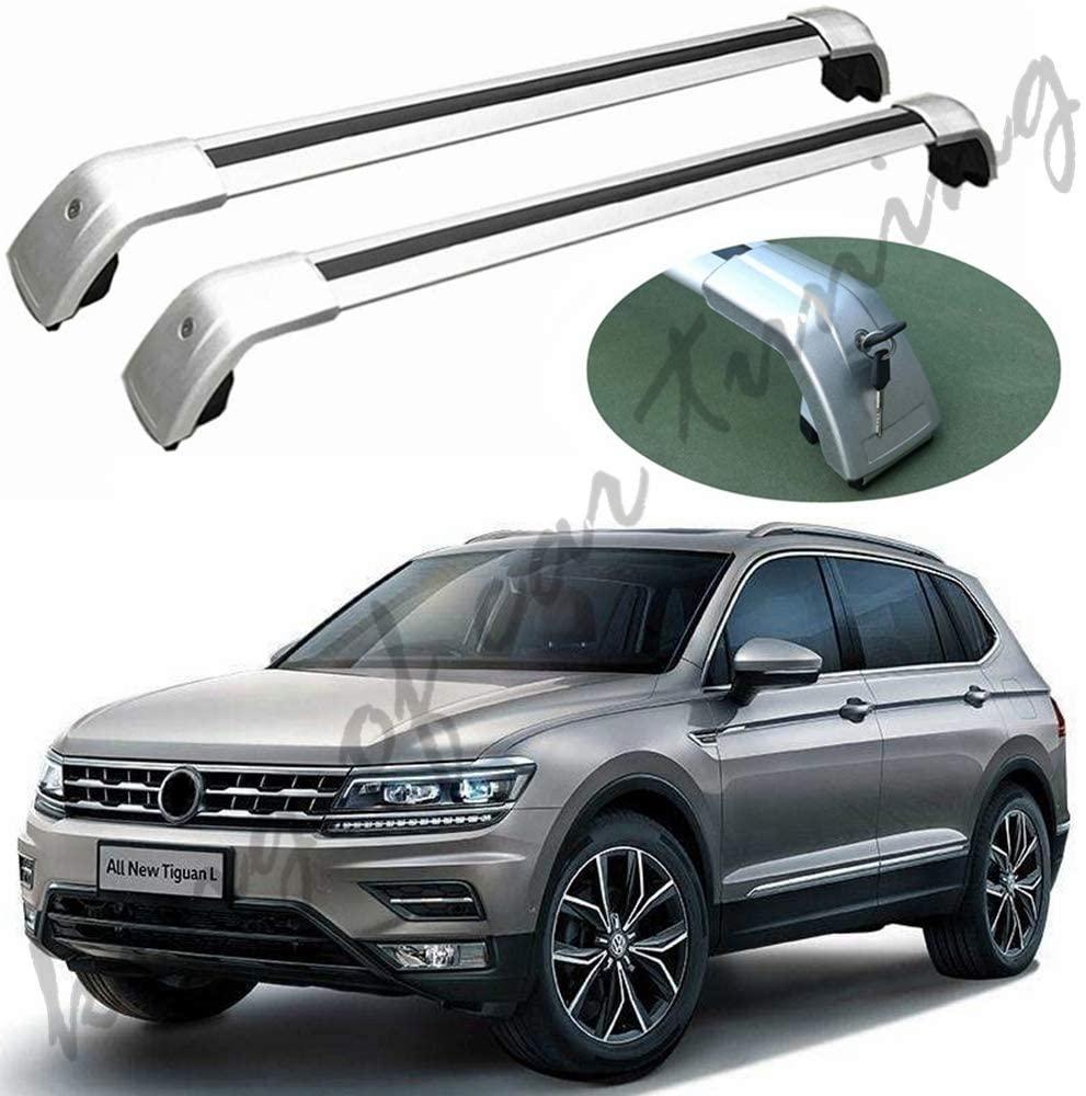 king of car tuning Silver Crossbars Cross Bars Roof Rail Racks Fits for VW Volkwagen Tiguan 2017-2019