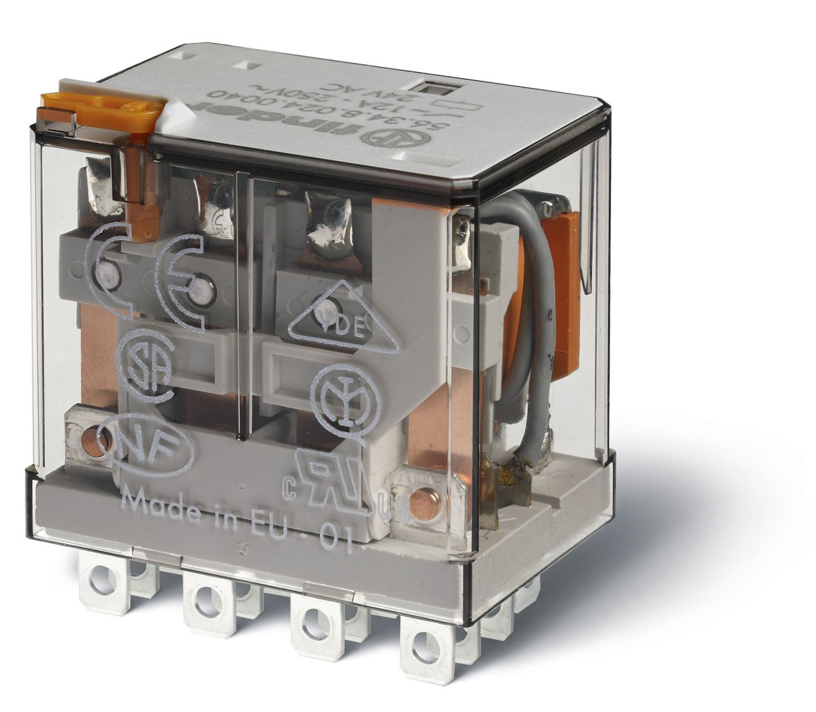 Finder 56.34.9.024.0000 4PDT 12A, 24V DC Coil, AgNi Contact, Miniature Power Relay