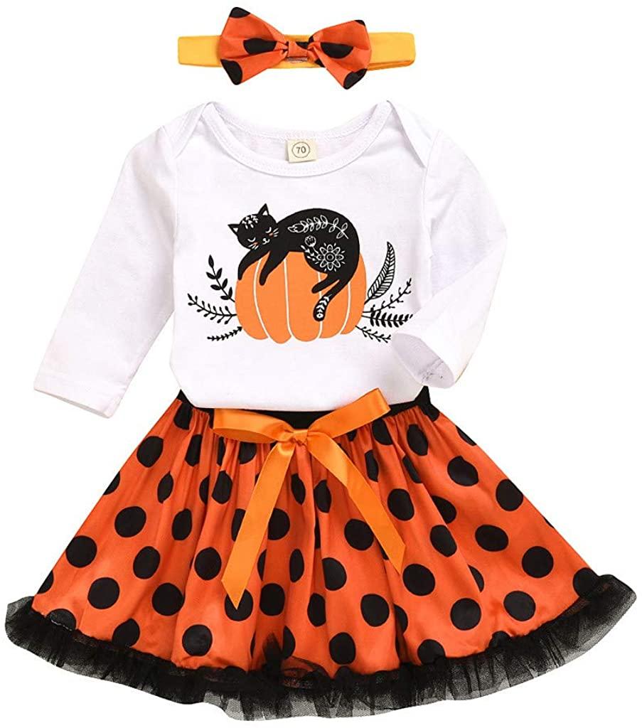 Newborn Infant Baby Girls Halloween Pumpkin Print Tops+Dot Tulle Skirt Set