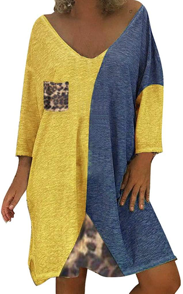 Koolee Womens Long Sleeve V Neck Casual Summer Dresses Hollowed Loose Beach Sun Dresses Knee Length Shift Dresses
