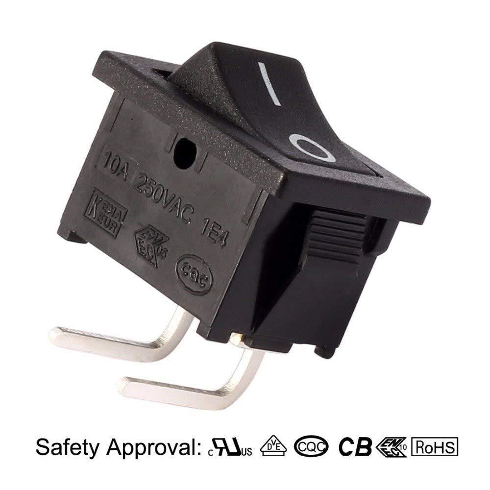 JPONLINE SPST 2P 2 Position I/O Right Angle Rocker Toggle Switch AC 125V/12A 250V/10A