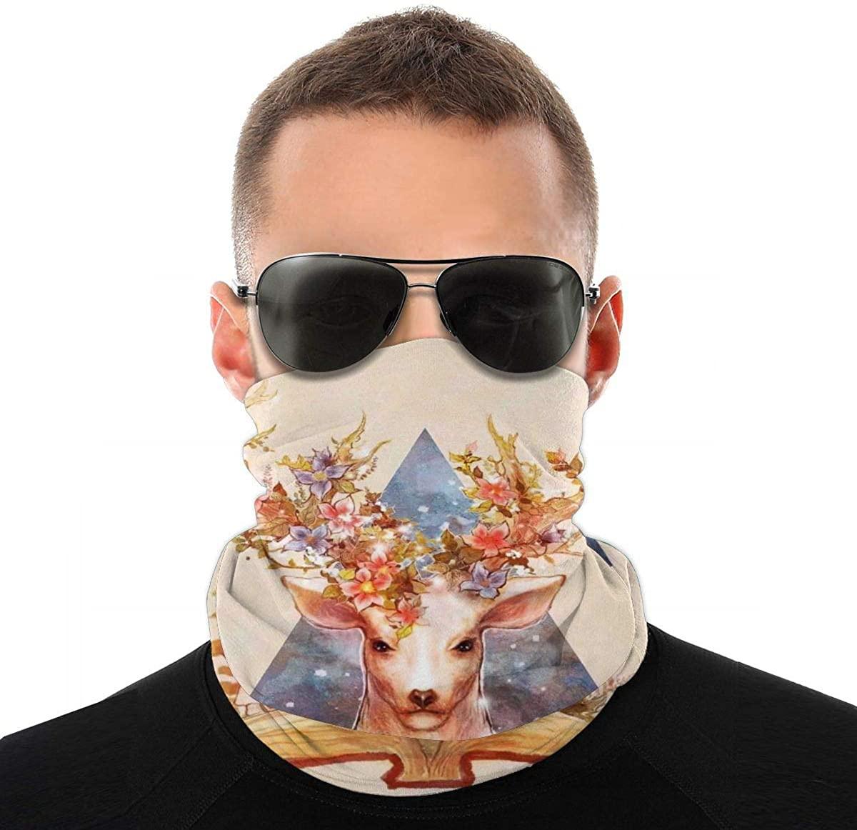 Reindeer David Deer Chinese Fantasy Book Novelty Neck Gaiter Unisex Adult Windproof Mask Dust Sports Face Mask Half Balaclava Weather Bandana Women Men Outdoors Festivals