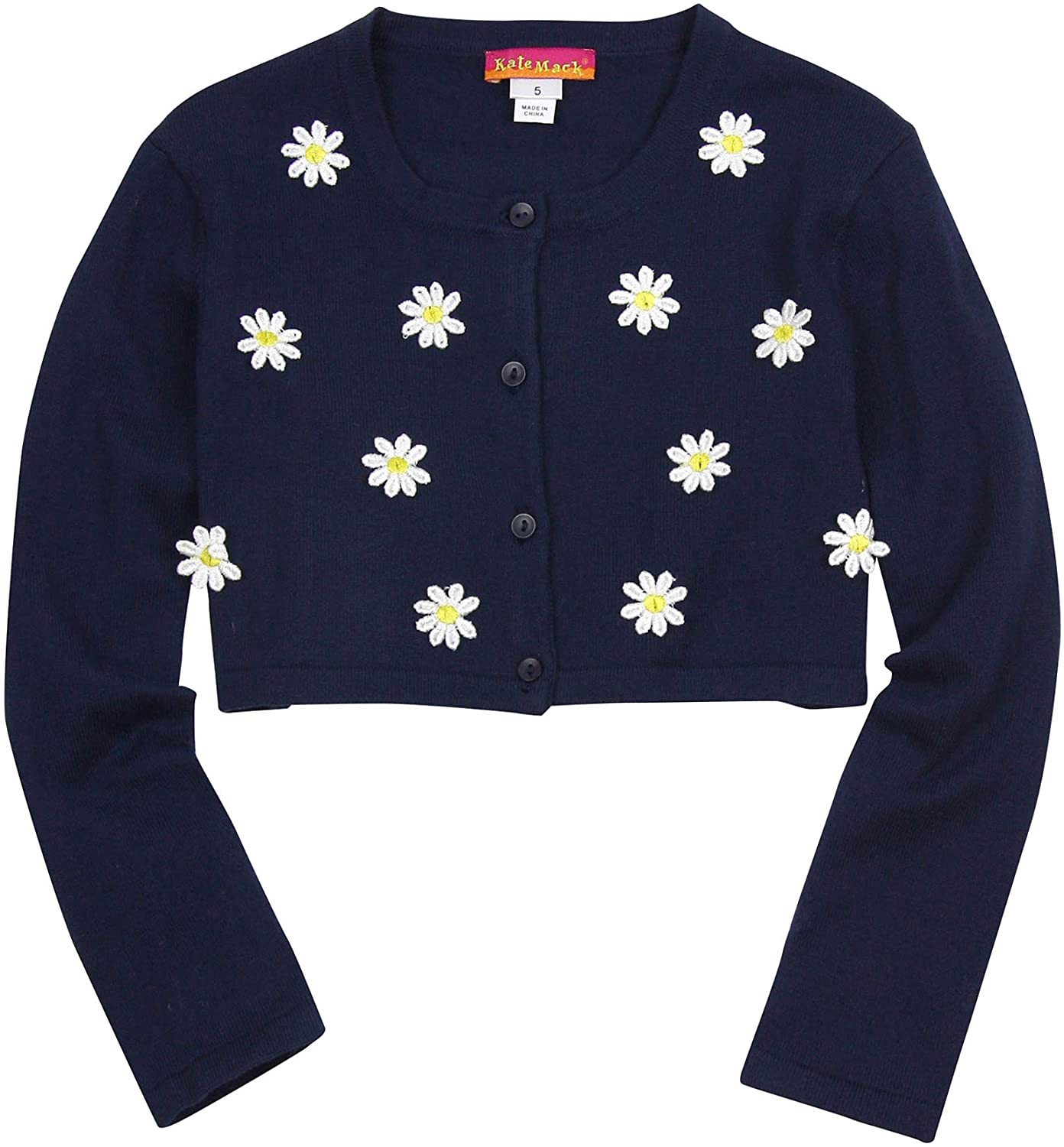 Kate Mack Little Girls' Daisy Chain Knit Cardigan, Sizes 3-6 (6) Navy