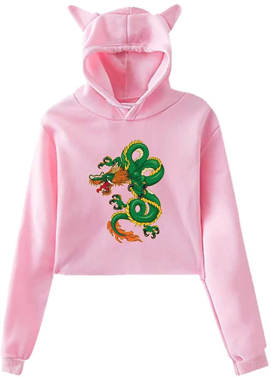 ZHUYOUDAO Women's Dragon Long Sleeve Pullover Hoodie Pink Sweatshirt