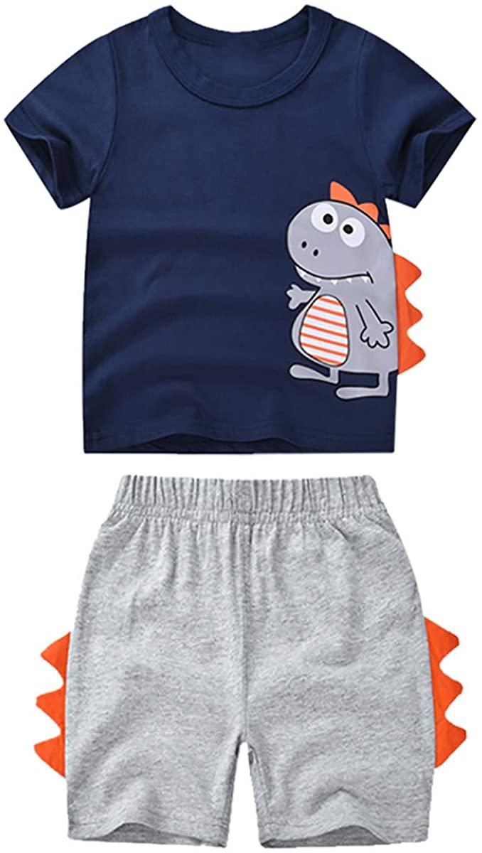 YiZYiF Kids Baby Boys 2 Piece Cartoon Cutie Dinosaur Short Sleeve Shirt and Shorts Summer Outfits Set
