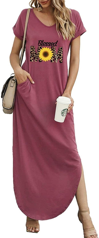 Women's Letters Print Casual Loose Pocket Dress Short Sleeve Split Maxi Dresses