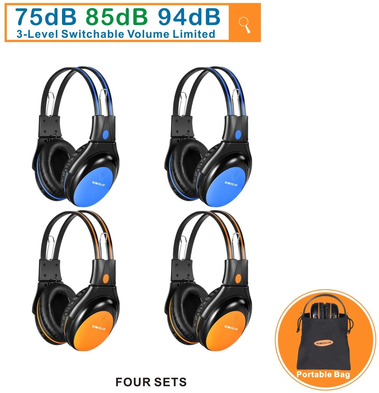 SIMOLIO 4 Pack of Car Kids Headphones with Adjustable 75-85-84dB Volume Limited, Wireless DVD Headphones, 2 Channel IR Wireless Car Headphones, Infrared Wireless Headsets for Vehicle Entertainment
