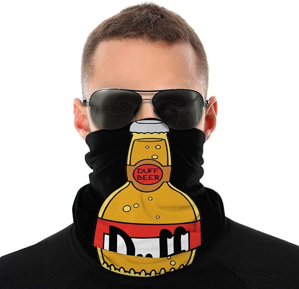 Simpsons Duff Beer Face Mask Bandana Neck Gaiter Tube Headwear Bandana, Seamless Rave Face Mask Scarf