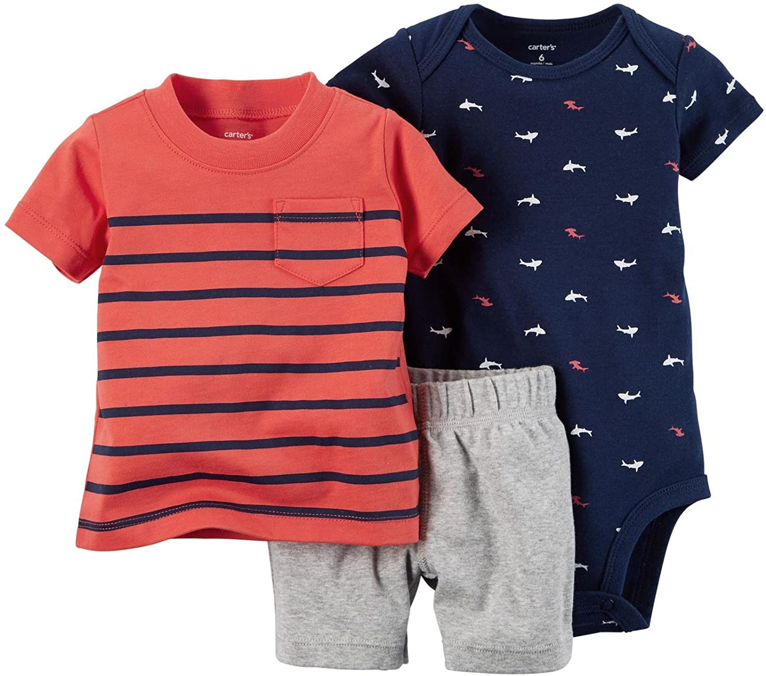 Carter's Baby Boy Diaper Cover Set Red Navy Stripe