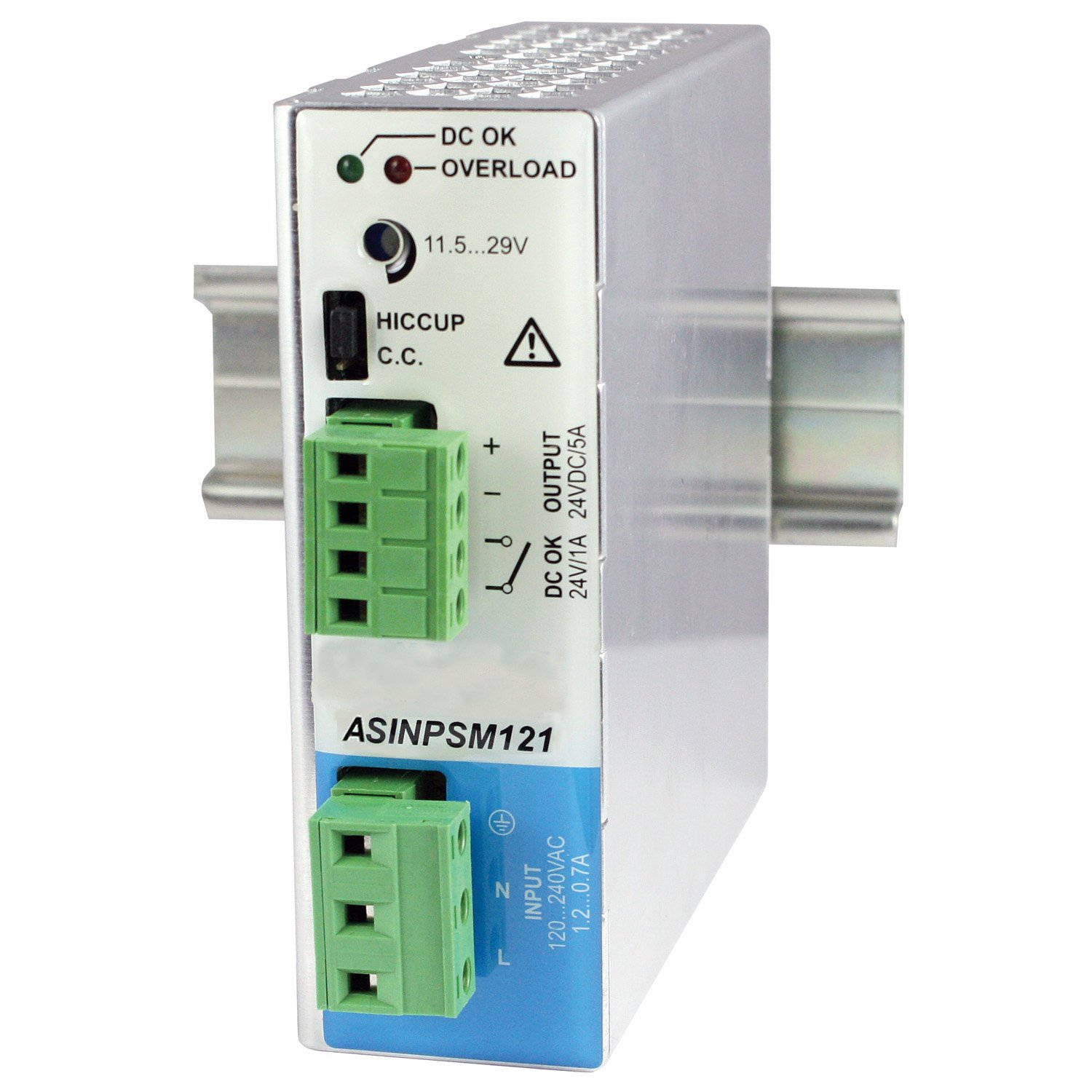 ASI ASINPSM121-24 24V Super Compact DIN Rail Power Supply, 5 Amp, 120W Output, 90 VAC to 264 VAC Input