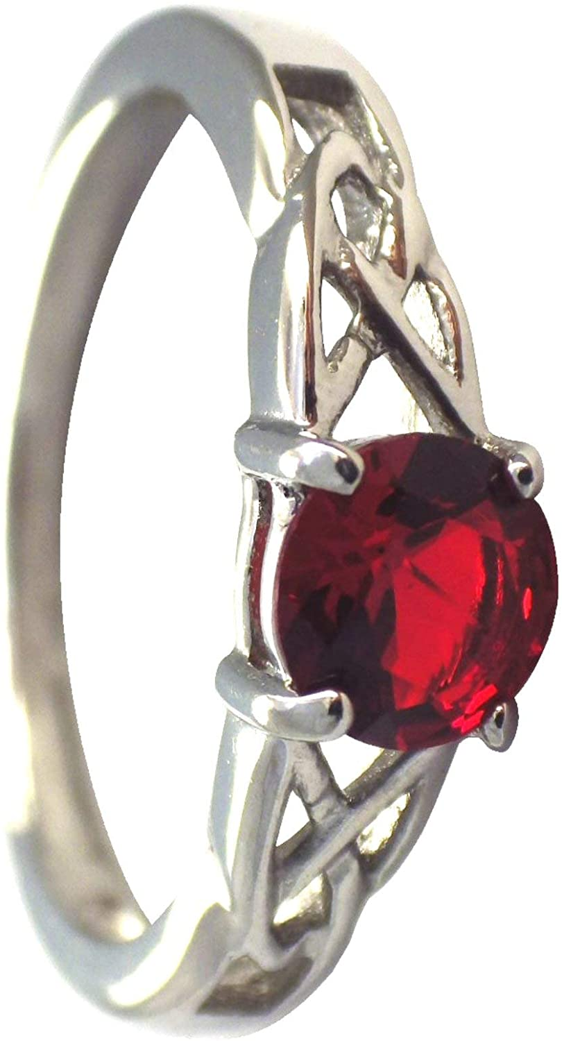 Fantasy Forge Jewelry Celtic July Birthstone Ring Womens Ruby Red Cubic Zirconia Engagement Band Sizes 5-10