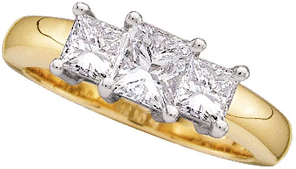 14kt Yellow Gold Womens Princess Diamond 3-Stone Bridal Wedding Engagement Ring 1/4 Cttw for Women