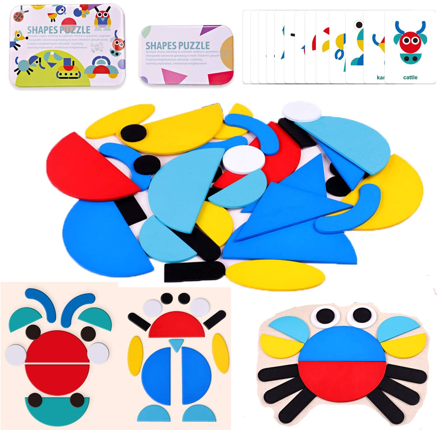 Wooden Pattern Blocks Animal Jigsaw Puzzle Geometric Shapes Games Montessori Early Educational Toys, Learn Sorting & Stacking for Toddlers Kids Boys Girls Age 2+ 36 Shape Pieces 60 Design Cards