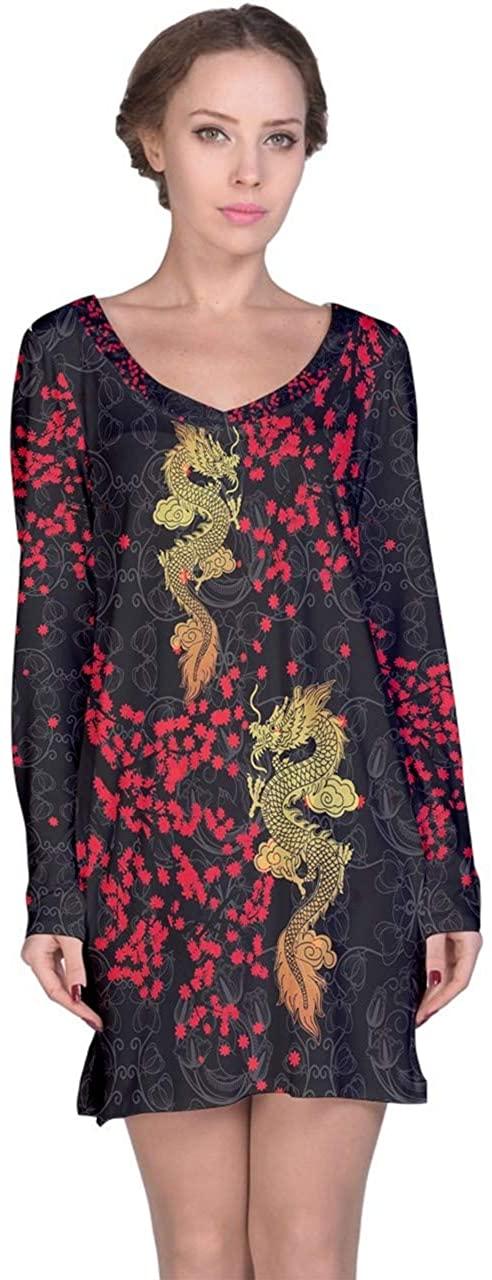 CowCow Womens Sleepwear Nightgowns Chinese Dragon Vintage Flowers Japanese Pattern Nightdress, XS-3XL