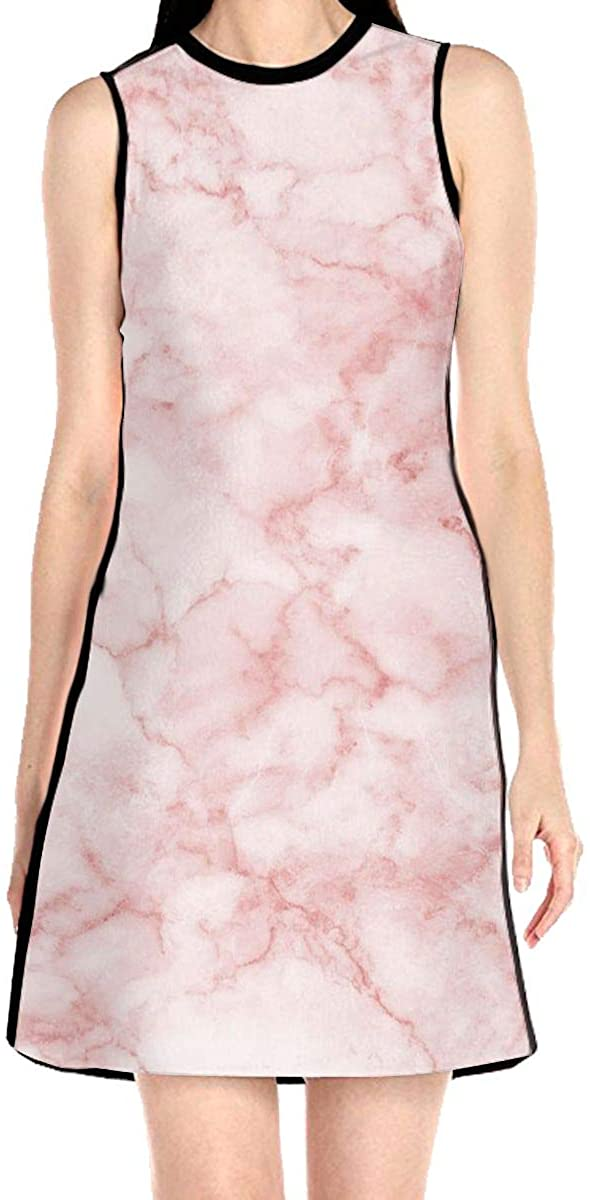 WAYMAY Pink Marble Dress Sleeveless A-Line Dress Tank Dresses Elegant Dress