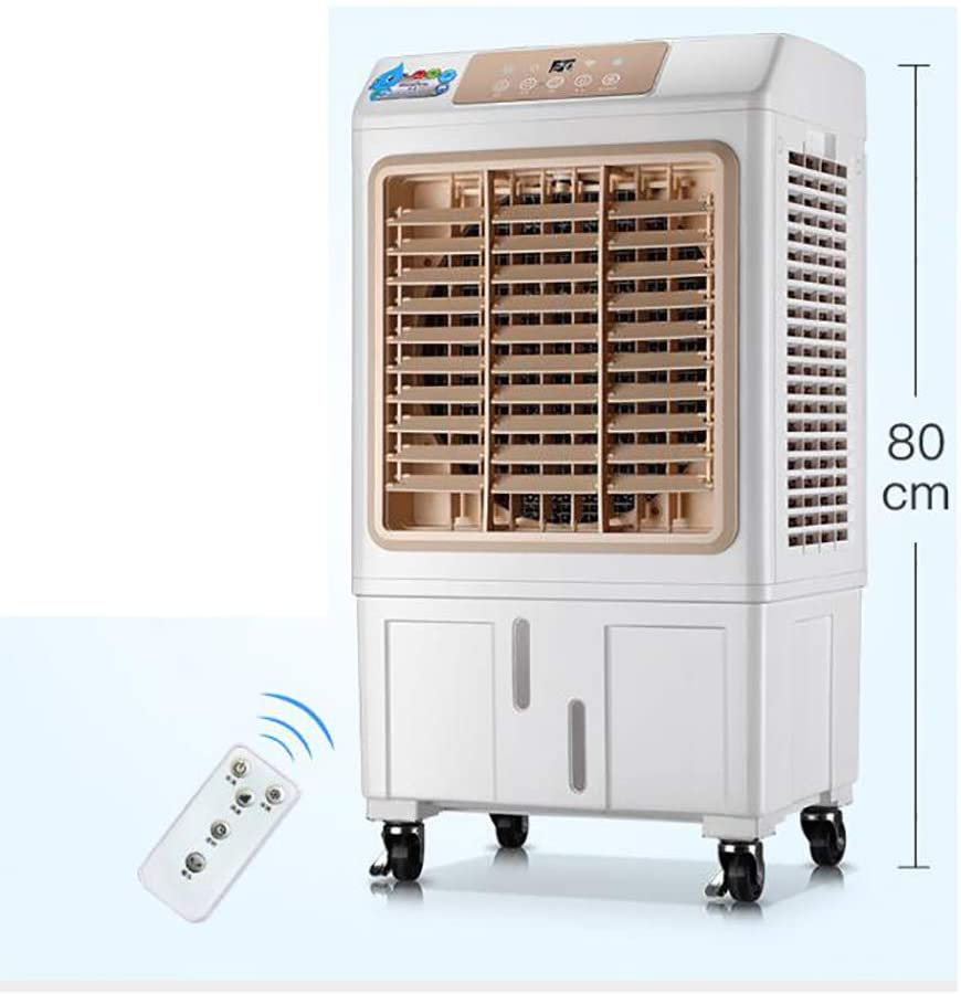 LoveGlass Portable Swamp Cooler,3 Speed Evaporative Air Cooler,Cooler Fan Humidifier with 10h Timer,Remote Control Air Conditioner Fan Golden 80x43x33cm(31x17x13inch)