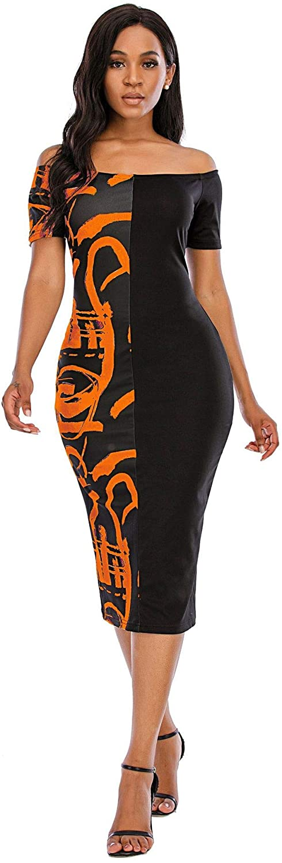 Eshoono Womens Plus Size Off Shoulder Letter Print Bodycon Dress Summer Tunic Dresses