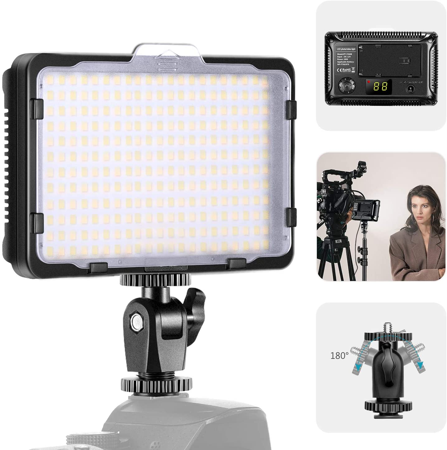 Neewer Upgraded 176S Version, 264 LED Video Light with SMD LED Beads, LED Light Panel Dimmable for DSLR Camera Camcorder, 3200K-5600K Bi-Color, White Filter and LCD Display (Battery Not Included)