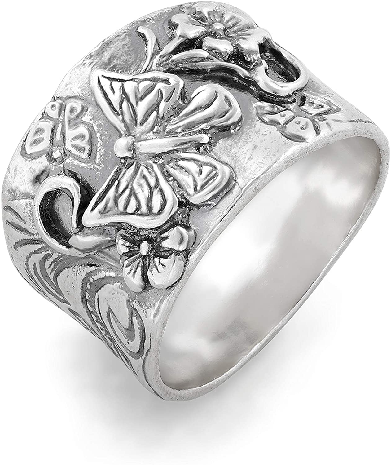 PZ Paz Creations 925 Sterling Silver Butterfly Floral Band Ring for Women | Vintage Style Statement Bohemian Jewelry Gift | Unique Artisan Fashion Chunky Rings