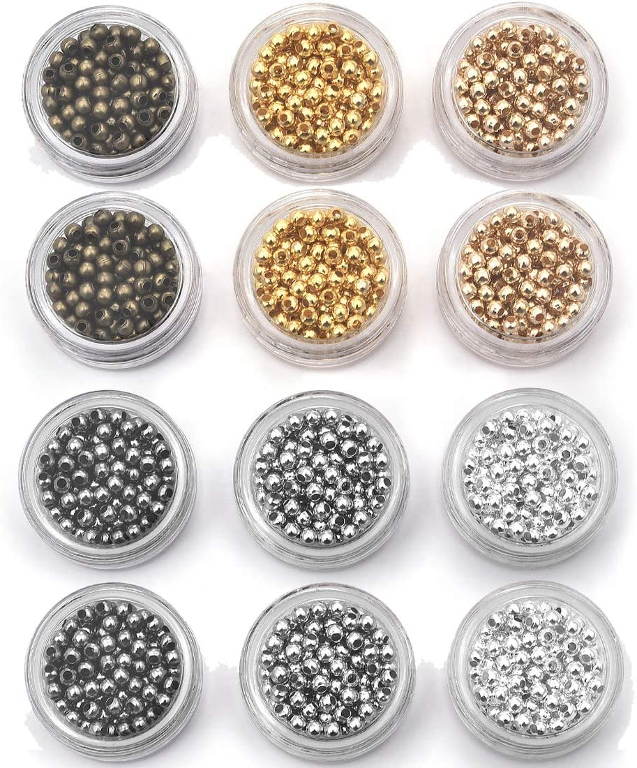 DROLE 12 Boxes (About 1800 pcs) 3mm 6 Colors Iron Round Spacer Beads Smooth Tiny Metal Bead for Bracelet Craft Jewelry Making