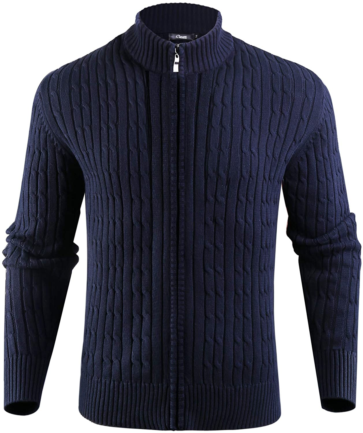iClosam Mens Long Sleeve Full-Zip Stand Collar Cable Knitted Cardigan Sweater