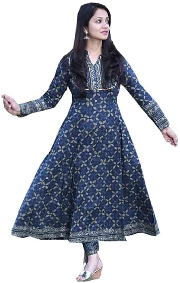 Pinkkart Indian Blue Cotton Printed Anarkali Kurti Pant Set Casual Office Festival Occassion Formal Women Dress 322